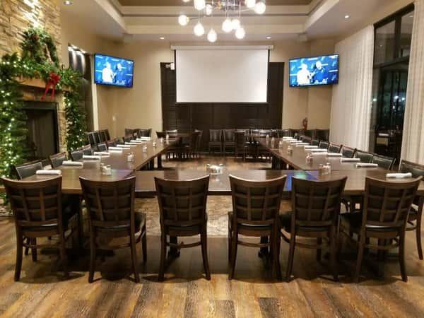 large formal dining room set up for event