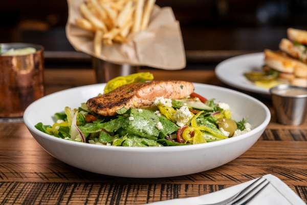 The Greek Salad w- Salmon