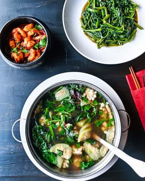 Asian Green Soup & Shrimp