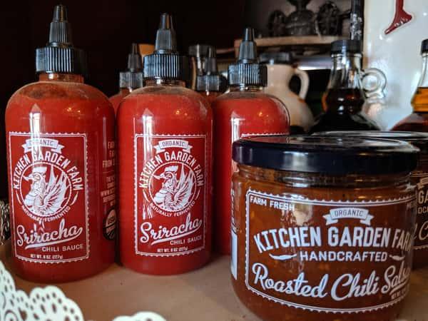 Jar of Sriracha Jar of Roasted Chili Salsa