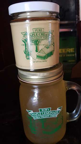 Jar of Maple Cream and Bottle of Maple Lemonade