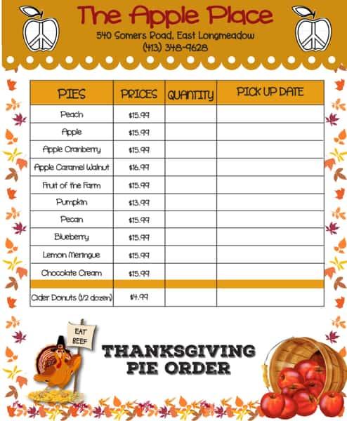 Thanksgiving Order Form