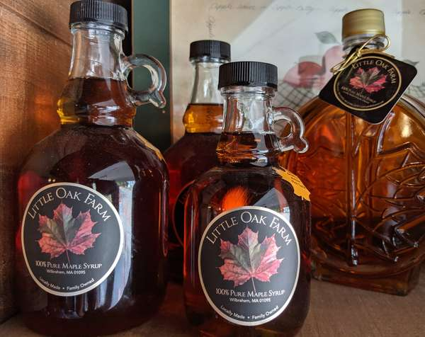 Bottles of various size of Maple Syrup