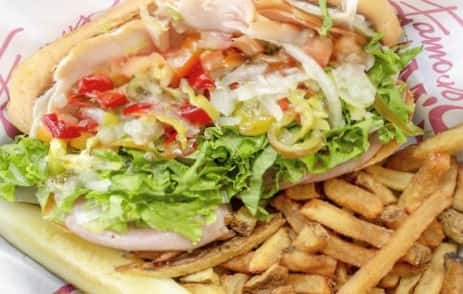 Sam's Grinder and fries