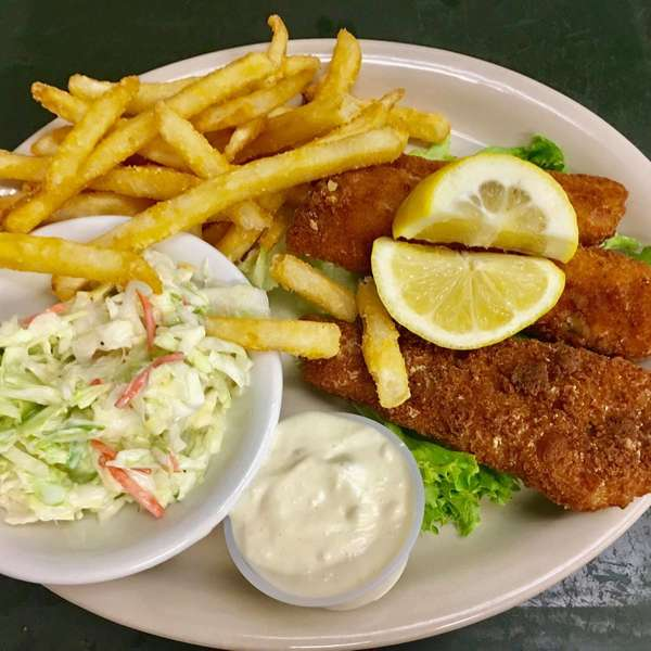 fish, fries, and coleslaw