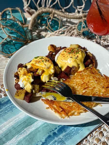 Corned Beef Eggs Benedict Vertical