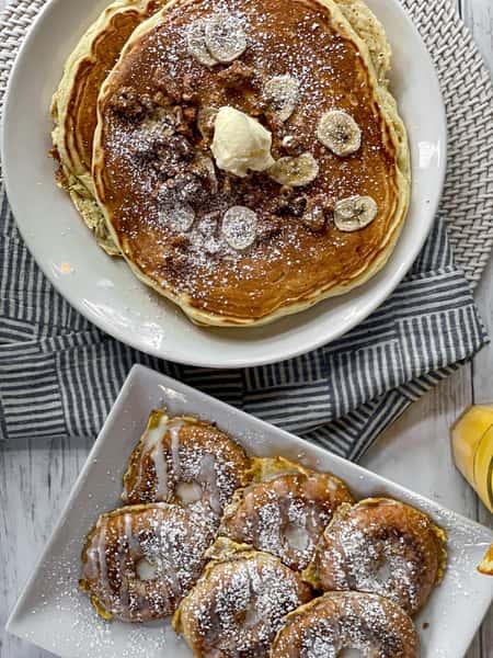 Banana Walnut Pancakes & Doughnut Frech Toast