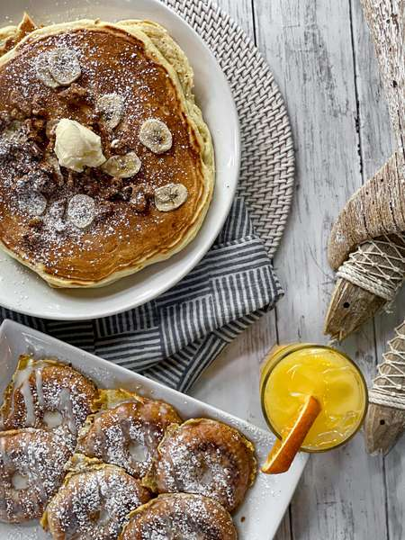 Banana Walnut Pancakes & Doughnut French Toast Juice