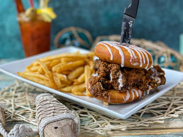 Chicken Doughnut Sandwich with Fries and Bloody Mary