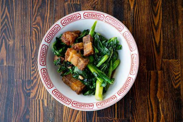 Kanah Fai Daeng | Pork Belly w/Chinese Broccoli and Roasted Red Chili (Over Rice)