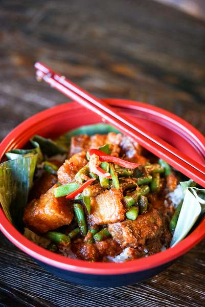 Prik Khing | Pork Belly w/Green Beans & Red Chili Paste (Over Rice)