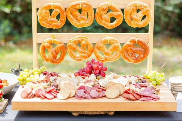 pretzels with charcuterie board