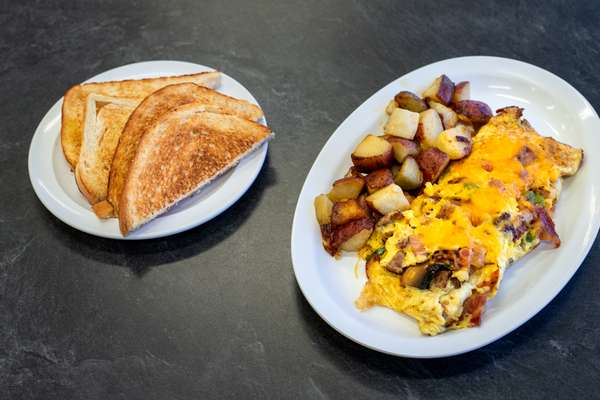 bacon and ham omlette