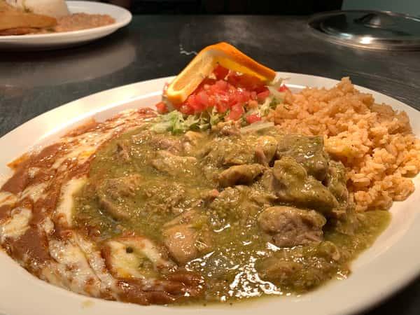 #8- Pork Con Chile Verde Plate