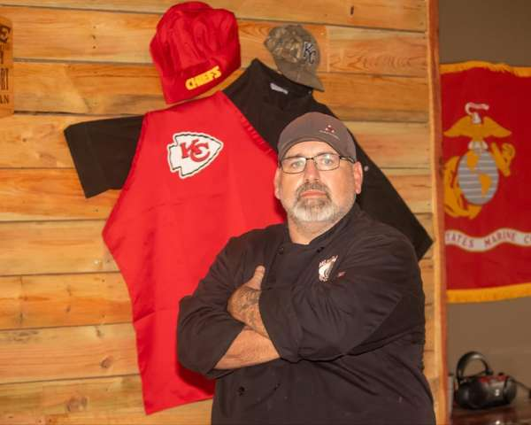 dan and kansas city chiefs + chef outfit