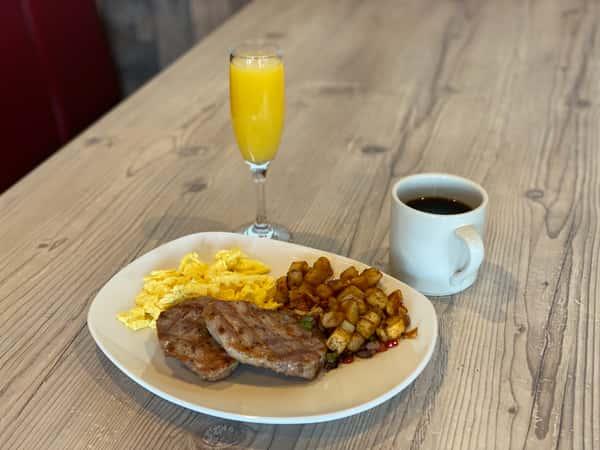 Boneless Pork Chops & Eggs