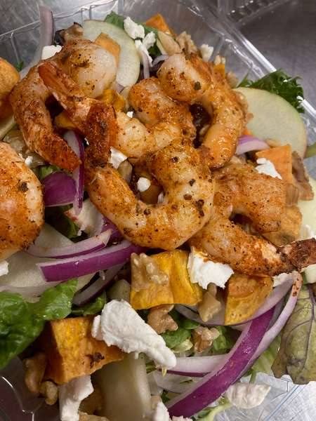 Fall is Here Garden Salad topped with Blackened Shrimp