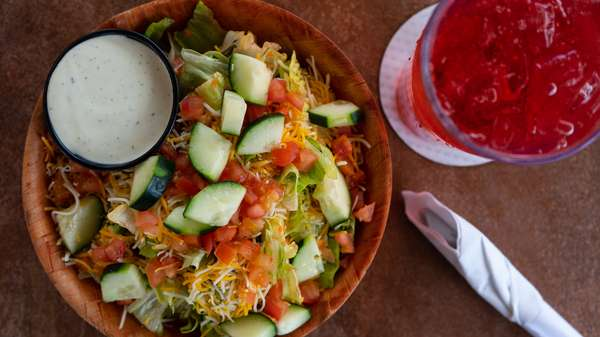 salad and drink