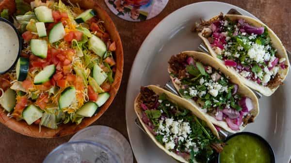 street tacos and salad