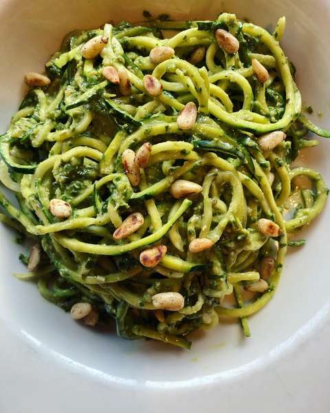 Fresh Zucchini Noodles with Organic Vegan Basil Pesto
