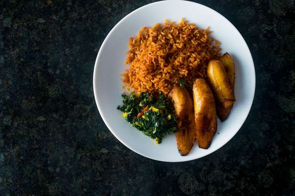 Jollof Rice, Vegetables and Plantain