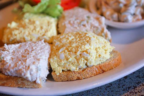 59. Chicken salad and egg salad