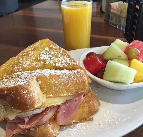 Grilled ham & Swiss Monte Cristo breakfast sandwich