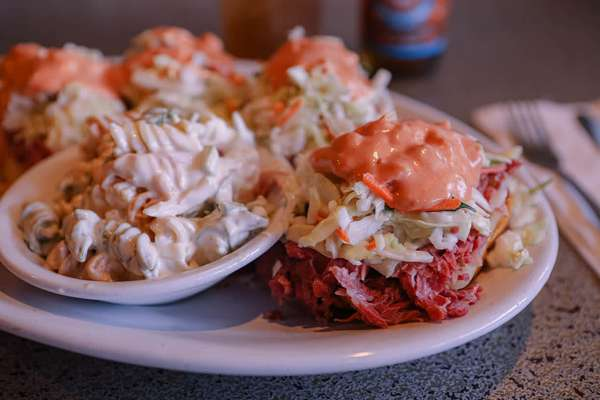 33. Hot Corned beef, Swiss and Coleslaw