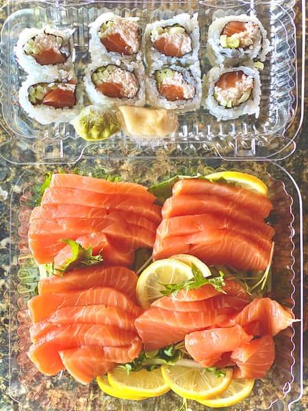 Salmon Sashimi and Alaskan Roll