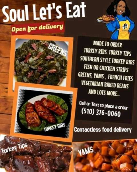 Made to order Turkey Ribs, Turkey Tips, Southern Style Turkey Ribs, Fish or Chicken Strips, Greens, Yams, French Fries, Vegetarian Baked Beans, and lots more! Contactless food delivery!