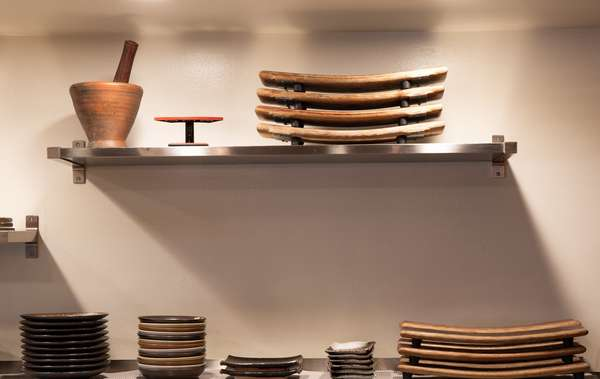 stacks of dishes and trays