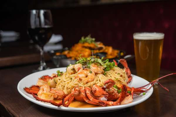 stuffed lobster with angel hair