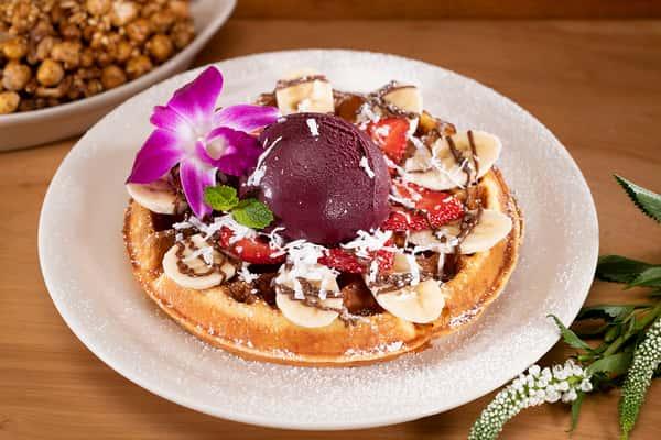 Acai Sorbet or Vanilla Ice Cream Waffle