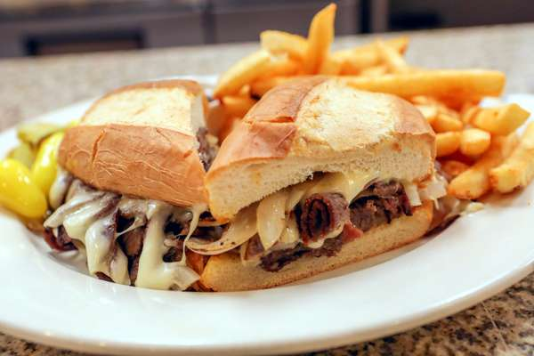 Barbeque roast beef sandwich with fries