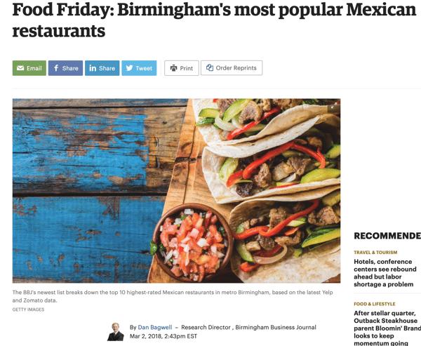 Birmingham's most popular Mexican restaurants