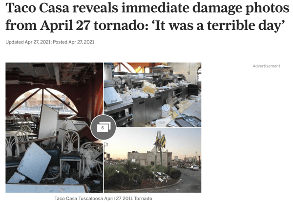 Taco Casa reveals immediate damage photos from April 27 tornado: 'It was a terrible day'