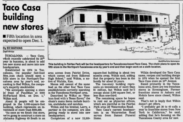 Taco Casa Building New Stores