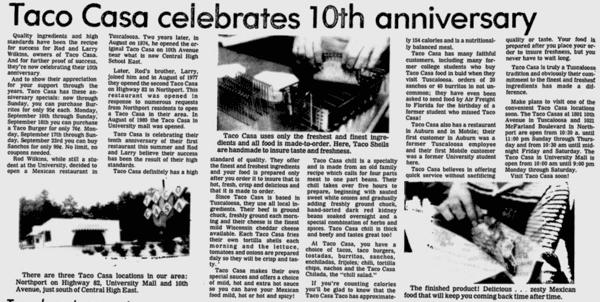 Taco Casa celebrates 10th anniversary