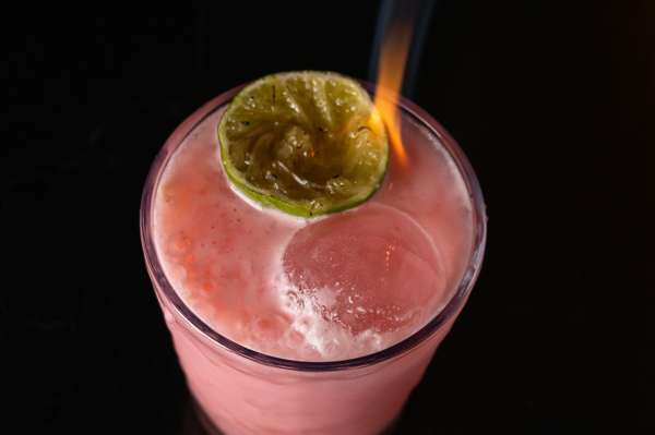 cocktail with flame
