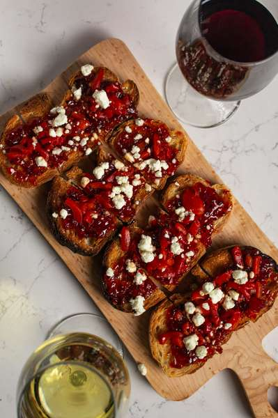 Roasted Red Pepper Jam, Goat Cheese, Diced Roasted Red Pepper