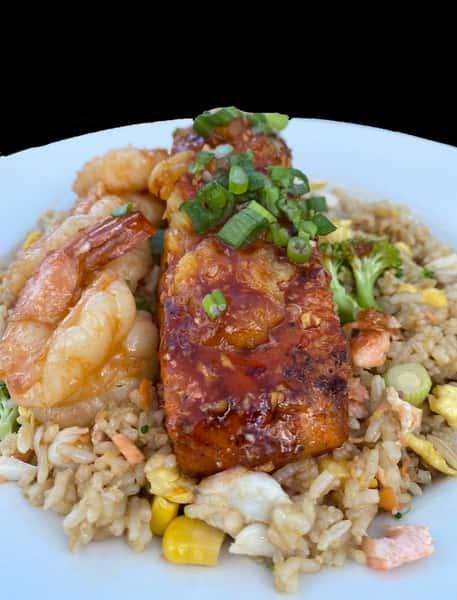 Shrimp salmon fried rice