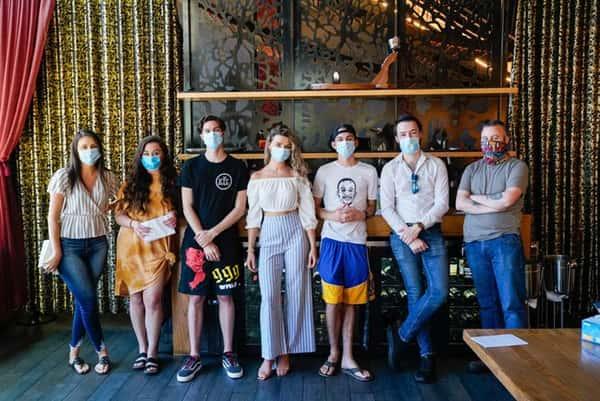 Staff of Sabio on Main wearing masks during COVID-19 crisis