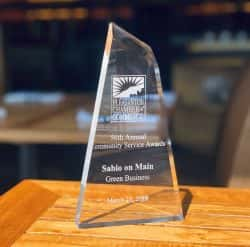 Pleasanton Chamber of Commerce recognizes Sabio on Main as a Green Business