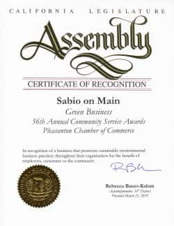State of California Assembly recognizes Sabio on Main as a Green Business