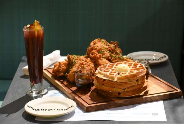 The Breakfast Club waffles and chicken