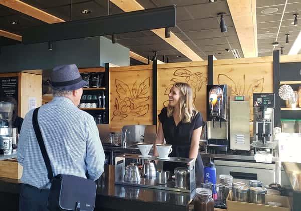 customer and barista