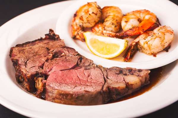 Prime Rib and Grilled Shrimp