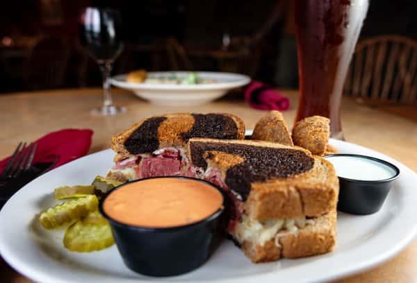 Rueben Sandwich and salad