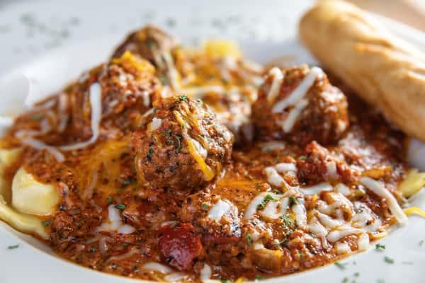 Three Cheese Ravioli with Meatballs