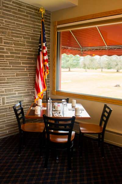 corner table with american flag